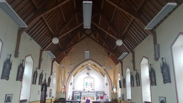 Kilmovee Church – How to heat a high ceiling building